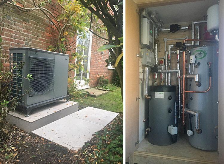 Air source heat pump at Oak View Studio