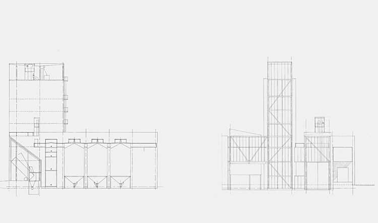 Animal feed mill: front and side elevation plans